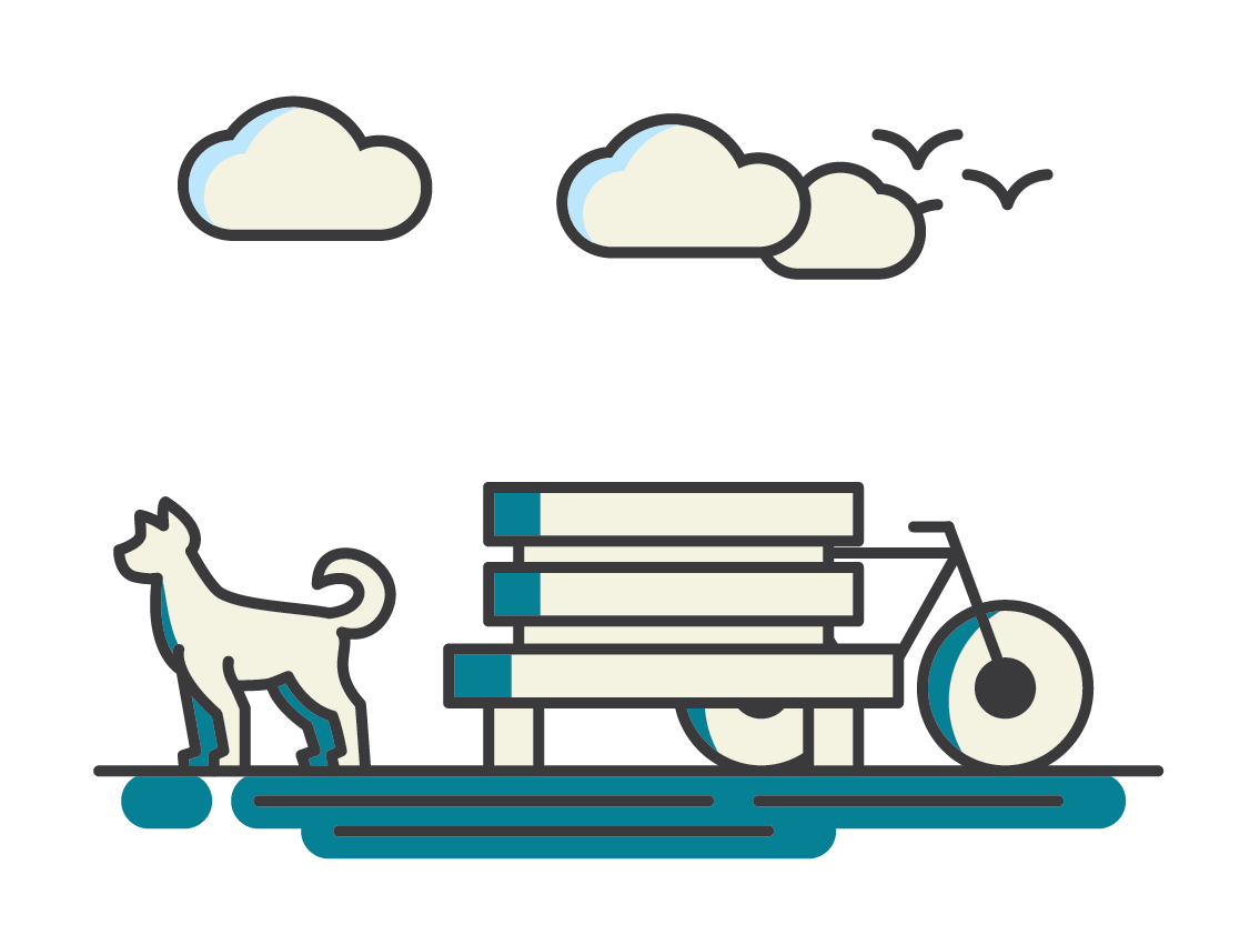 Illustrative scene of dog, bench and cycle